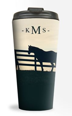 Monogramed Horses At the Fence Travel Tumbler 15oz - equestrian coffee mug for the on the go horse lover - perfect for early horse show mornings!