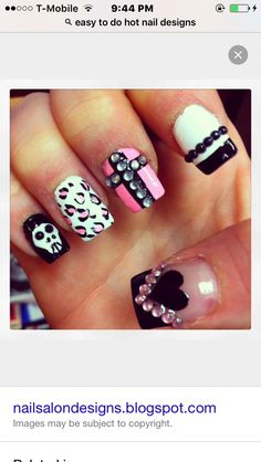 I really only like the cross idea on the middle finger nail