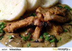 Vepřové nudličky na divoko s houbovou omáčkou Pork Recipes, Stew, Food And Drink, Treats, Chicken, Cooking, Kochen, Recipes