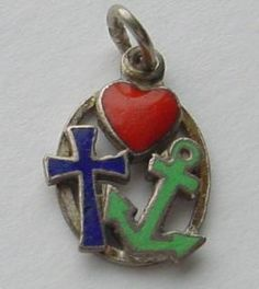SILVER & ENAMEL ART DECO LUCKY CHARM 'FAITH HOPE & CHARITY'