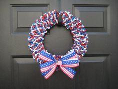 Patriotic USA 4th of July Beaded Door Wreath. $55.00, via Etsy.