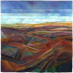 Landscape-inspired textile art using hand-dyed fabric, stitching and mixed media – Fiber Art Quilts, Textile Fiber Art, Textile Artists, Art Fibres Textiles, Map Quilt, Quilt Art, Landscape Art Quilts, Landscape Design, Creative Textiles
