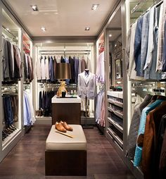 Elegant #HisCloset.  Center Island with Bench.  #ClosetDesign.  I like the slick painted ceiling with #modern LED lighting.