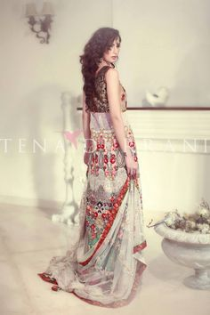 For prices/info on pieces, please email info@tenadurrani.com or call +92 321 232 4600.  Item: Bridals - Cream Rose Bridal  Product Code: B16  Model: Abeer Rizvi  Makeup: Raana Khan  Photographer: Ayaz Anis Khan