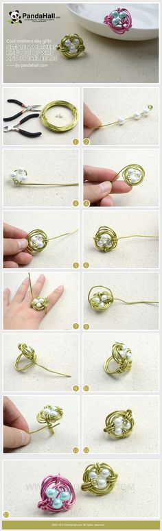 Cool mothers day gifts-create a mothers ring out of wire and 3 pearl beads