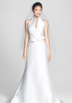 Jesús Peiró Mikado Satin Halter Fluted Dress (In Stores Only) Big Wedding Dresses, Wedding Suits, Bridal Dresses, Bridesmaid Dresses, Satin Dresses, Formal Dresses, Halter Gown, Ivoire, Nordstrom Dresses