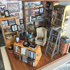 Finished my take on Sam's Study. Great kit, it was super fun and detailed! Miniature Rooms, Miniature Crafts, Miniature Houses, Dollhouse Kits, Dollhouse Miniatures, Mini Library, Mini Things, Kit Homes, Book Nooks