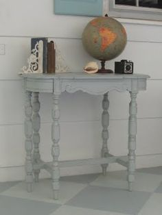 Distressed gray table or perhaps this color for my old table??