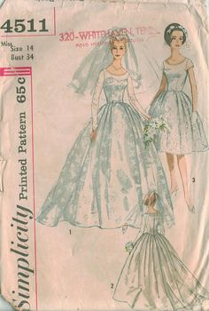 Simplicity 4511 Vintage Wedding Dress sewing pattern