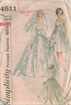 Simplicity 4511 Vintage Wedding Dress sewing pattern