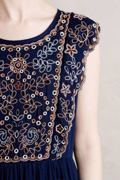 Vanessa Virginia Navy Putomayo Embroidered Dress