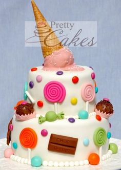 Cute cake for an ice cream/candy party! Pretty Cakes, Cute Cakes, Beautiful Cakes, Amazing Cakes, Beautiful Flowers, Yummy Cakes, Cake Cookies, Cupcake Cakes, Sweets Cake