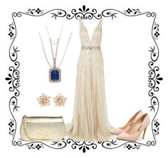 """""""Golden Arches"""" by lorelei-simpson on Polyvore featuring Jovani, Rupert Sanderson, Tory Burch, Effy Jewelry, Lord & Taylor, women's clothing, women, female, woman and misses"""