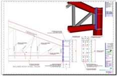 Inclined Roof Steel Truss Connection to HEB Column. Steel pitched roof truss connected to an HEB steel column with moment connection endplate support. Steel Trusses, Steel Columns, Roof Trusses, Flat Roof Design, Roof Truss Design, Steel Structure Buildings, Roof Structure, Roof Architecture, Architecture Details