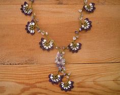 crochet flower necklace, purple white green oya