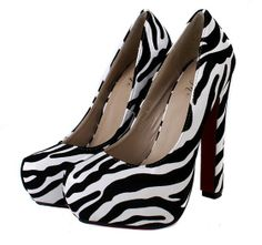 [$13.94]Shallow mouth zebra pattern thick high heel pumps Z0047 white