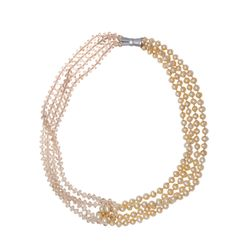 Handmade Freshwater Pearl & Crystal Beads Short Necklace Champagne at Saintchristine.com