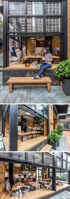 10 Unique Coffee Shops In Asia / JJA/Bespoke Architecture designed Elephant Grounds, a coffee shop in Hong Kong that emphasizes indoor-outdoor engagement thanks to it's design that opens out onto the street to encourage interaction between the people in the coffee shop and the people on the street. #coffeeoffice