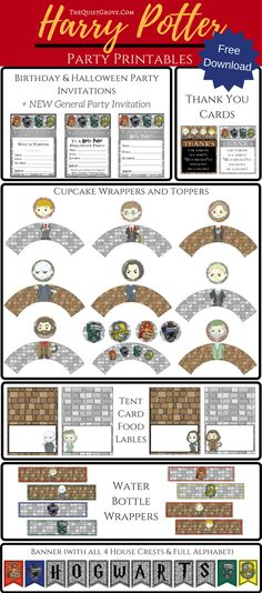 Enjoy these FREE illustrated Harry Potter Party Printables perfect for Birthdays, Halloween, Movie marathons. or just because Harry Potter parties!
