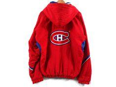 Montreal Canadiens Starter Jacket - Large - NHL Starter Jackets - Canadiens Hockey - Quebec - Francophone - Francais - Throwback Jacket - by BLACKMAGIKA on Etsy
