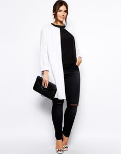 ASOS CURVE - Collarless Coat I love collarless things. My neck is too short for bulky neck detail