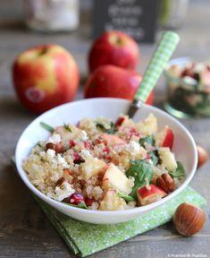 #Recette #Salade de #quinoa, #pomme et #grenade Salad Recipes, Potato Salad, Buffet, Brunch, Veggies, Rice, Gluten, Pink Lady, Cooking
