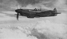 British fighter Spitfire Mk.XII in flight