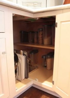 repurposing a lazy susan cabinet | Much better than a lazy susan in a corner cabinet