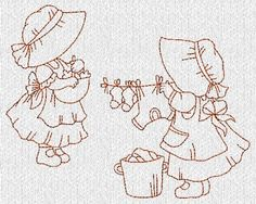 Sunbonnet Girls at Home Redwork Machine Embroidery Designs
