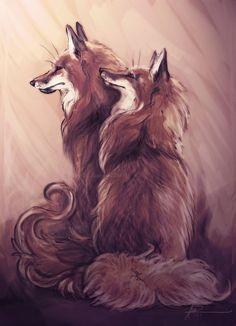 Guarding Foxes by endzi-z on DeviantArt Fox Spirit, Spirit Animal, Animals Beautiful, Cute Animals, Fox Drawing, Fox Pictures, Fox Illustration, Pet Fox, Fox Art
