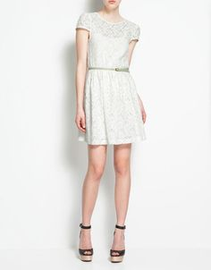 LACE DRESS WITH CROSSOVER AT THE BACK