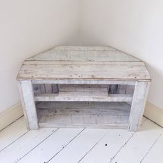 Handmade Rustic Corner Table/Tv Stand With Shelf. Reclaimed and Recycled Wood White - TV Stands - Ideas of TV Stands - Handmade Rustic Corner Table/Tv Stand With Shelf. Reclaimed and Recycled Wood Corner Tv Stands, Corner Tv Unit, Corner Table, Corner Space, Corner Shelf, Interior Design Living Room, Living Room Decor, Kitchen Interior, Room Interior