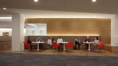 Café seating offers choice. This allows employees to choose sitting, standing, or reclining postures.