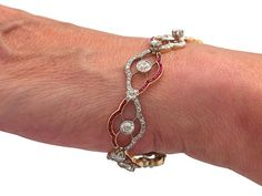 4.31 ct Diamond and Synthetic Ruby, 18 ct Yellow Gold Bracelet - Antique Circa…