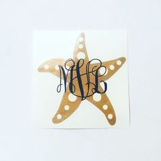 Glitter Starfish Monogram Decal