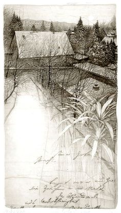 Livio Ceschin, Dalla Finestra di Luciana, 2000, etching & drypoint. (copperplate)