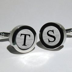 Initial Monogram Men's Silver Leaf Cuff links for birthdays, graduations, Fathers Day - Wedding cufflinks for the Groom