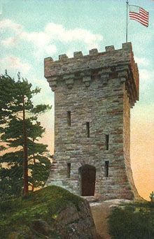 Ethan Allen Tower, located in Ethan Allen Park in Burlington Vermont. Visitors have access to the top during summer months for a 360 degree view of Burlington.