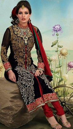 $79.3 Black Jacquard Embroidered Pakistani Salwar Suit 25055