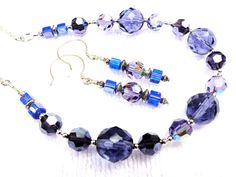 Indigo Blues Necklace and Earrings Set by jlisiecki on Etsy, $30.00