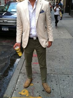 Beige jacket, white shirt, olive pants