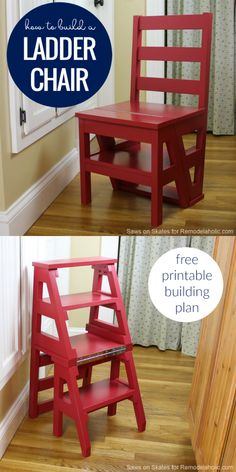 Build this multi-functional DIY ladder chair, which looks like an ordinary dining chair but easily folds into a sturdy step-stool for multipurpose use. Originally invented by Benjamin Franklin, this modern ladder chair has an updated classic style. Perfect for a small space or tiny home. Full tutorial and building plan.