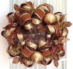 Deco Mesh Christmas Wreath Chocolate Brown Gold Poinsettia Door Wreath