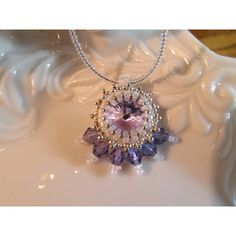 Crystal necklace Pale Purple 12mm Rivoli peyote stitch beading with... (€30) ❤ liked on Polyvore featuring jewelry, necklaces, crystal bead necklace, stitch necklace, beaded jewelry, crystal necklace and heart shaped necklace