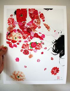 Blush 1 - Ltd Edition Giclee fine art sensual erotic print of a couple - covered in red flowers. $70.00, via Etsy.