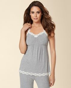 Soma Intimates Embraceable Cool Nights Lace Sleep Cami Little Dot Heather Silver #somaintimates