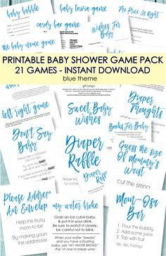 21 Printable Baby Shower Games - Super Game Pack - Blue Theme - Print It Baby Bingo Baby Shower, Free Baby Shower Printables, Fiesta Baby Shower, Cute Baby Shower Ideas, Baby Shower Candy, Baby Shower Prizes, Baby Shower Party Supplies, Virtual Baby Shower, Baby Shower Activities