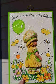 Set of 2 Vintage Wall Plaques, (boy & girl) Lime Green Yellow Orange Diane Sargent 70's 3D wood hanging citrus nursery baby art  retro