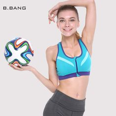 B.BANG Women Sports Bra for Running Gym Yoga Professional Padded Crop Top Quick Dry Push Up Zipper Front Bras for Woman => Save up to 60% and Free Shipping => Order Now! #fashion #product #Bags #diy #homemade
