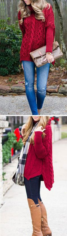 Red color has long been a fan favorite for its warm, rich, organic feel. The Red Rose Sweater is made in a chunky red knit and features a turtleneck,slits at sides and twist pattern. Check more info at CUPSHE.COM